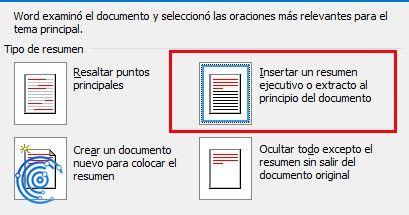 crear un resumen automático en Word al inicio del texto