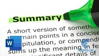 Marcando la palabra summary con un rotulador verde