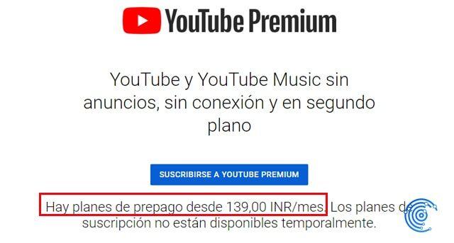 suscripción a youtube premium india con youtube music gratis