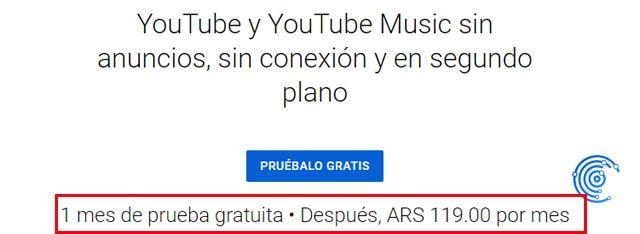 youtube premium argentina con youtube music gratis
