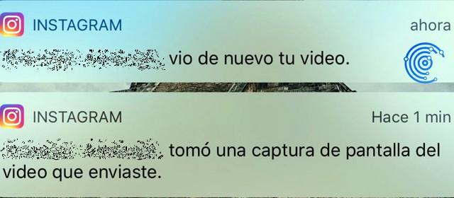 notificación recibida cuando alguien ha capturado la pantalla en tu mensajes privados en Instagram