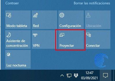 proyectar la pantalla de windows 10